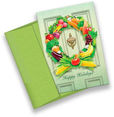 Food Wreath Holiday Card with Envelope