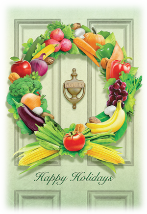Fruit and Vegetable Wreath on Door